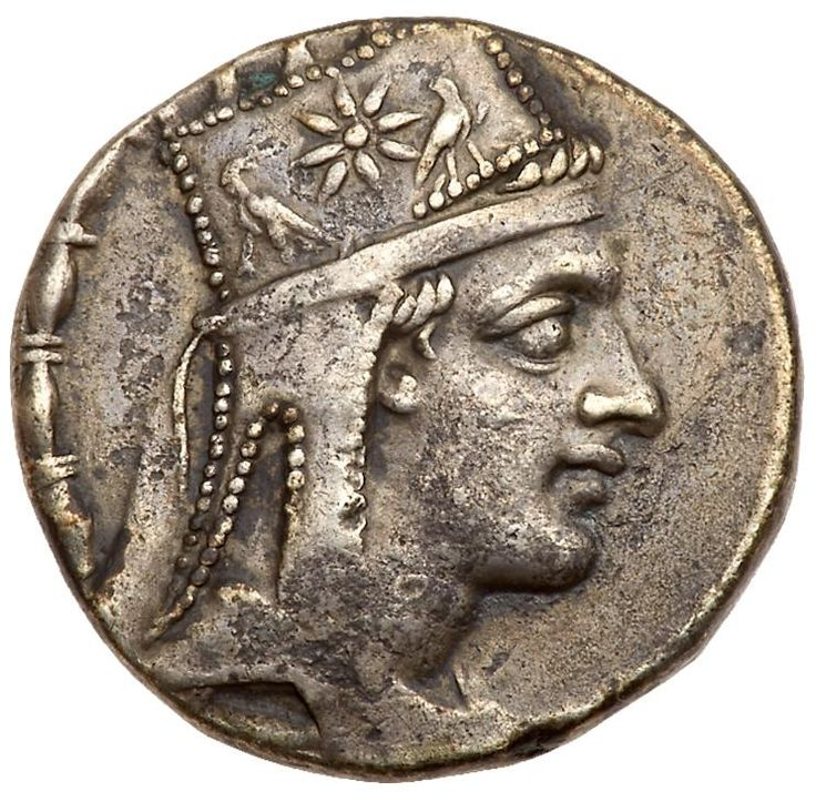 Artaxiad Kingdom. Tigranes II 'the Great'. Silver Tetradrachm (15.31 g), 95-56 BC Tigranocerta, ca. 80-68 BC. Diademed and draped bust of Tigranes II right, wearing tiara decorated with star between two eagles. BAΣIΛEΩ-Σ / TIΓPANOY, Tyche seated right on rock, holding laurel branch; below, river-god Orontes swimming right; on rock below, ΣΩ monogram; all within wreath. SCADA grp. 7, obv. die A58; ACCP 75.2; AC 33. Nicely toned. The Hanbery Collection; Purchased privately from Rare Coins…
