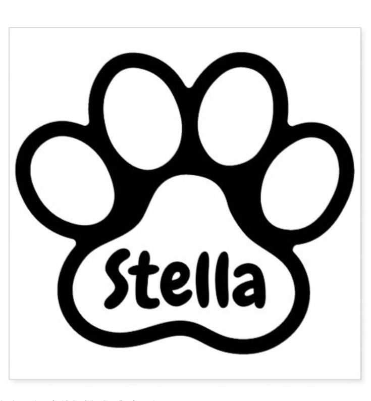 Paw print with personalized name signature rubber stamp