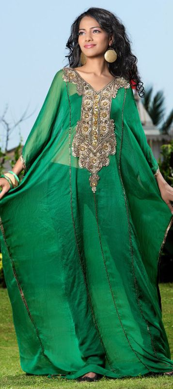 325114: Green color family stitched Kaftan.