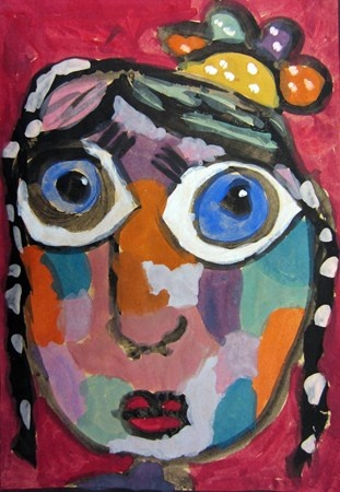 Matisse Style Portraits on butcher paper.