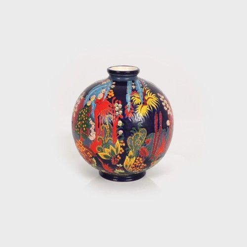 Vas ceramic decorat cu peisaj subacvatic, cca. 1930-1940 Atelier Francez ceramică modelată, glazurată, pictată cu email, h=28 cm Valoare estimativă: € 500 - 700