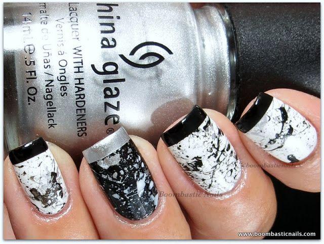 Boombastic Nails: Monochrome Splatter Nails