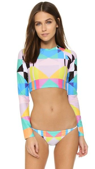 Mara Hoffman Cropped Rash Guard Top