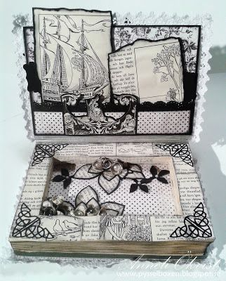 Altered Book with a box inside and a shaker card on the front side 1