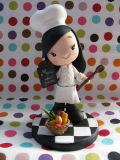 cocinera chef porcelana fria fimo