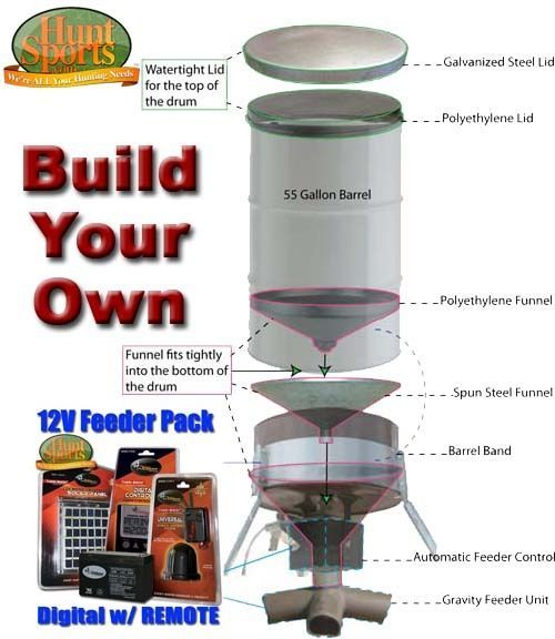 Build Your Own Deer Hunting Feeders BUILD YOUR OWN 55 or 85 Gallon Barrel or Drum Wildlife Feeder Deer Feeder etc using American Hunter Feeder Parts