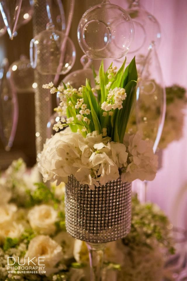 wedding centerpieces fake flowers%0A All White Floral Table Decoration for a Wedding   Butterfly Floral and  Event Design   Duke