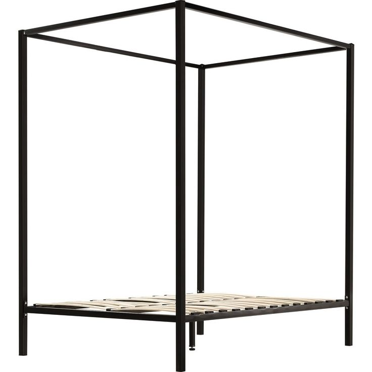 Modern Double Size 4 Poster Bed Frame in Black | Buy Double Bed Frame
