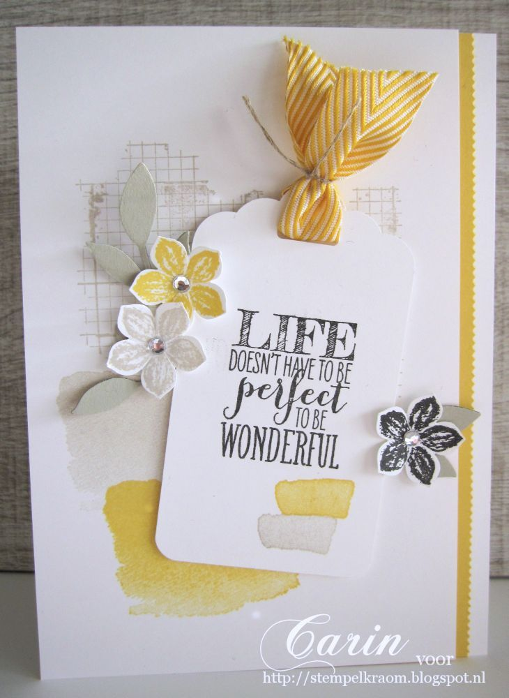 Fun combo of stamps for the perfect card: Petite Petals, Perfect Life, Stampin Up, Tags Toppers, Stamps Sets, Cards Layout, Off The Grid, Tags Cards, Chevron Ribbon