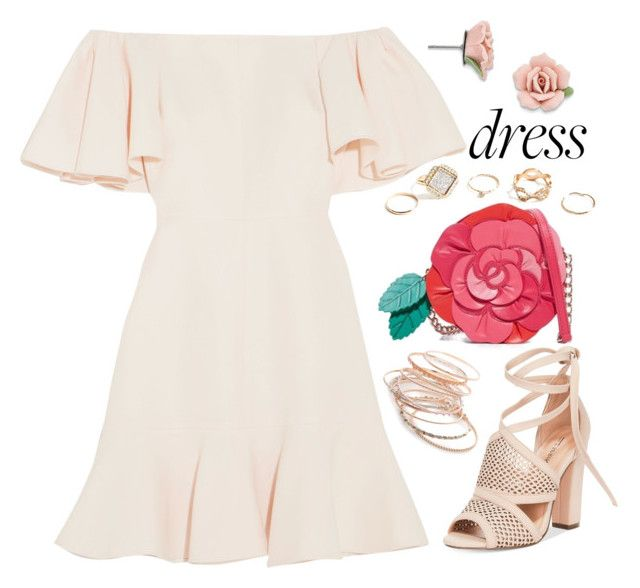 """Spring Trend: Off-Shoulder Dresses"" by joslynaurora on Polyvore featuring moda, Valentino, Call it SPRING, Kate Spade, 1928, GUESS, Red Camel, Spring, dress y sandals"