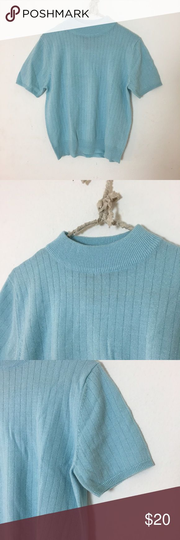 Baby Blue Sparkly Crop Top Super cute turtleneck style crop top. Sparkly baby blue no flaws Brandy Melville Tops Crop Tops