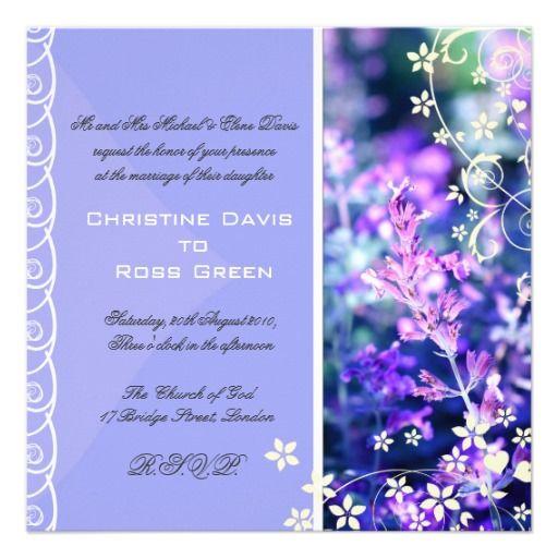 Lavender violet wedding invitation