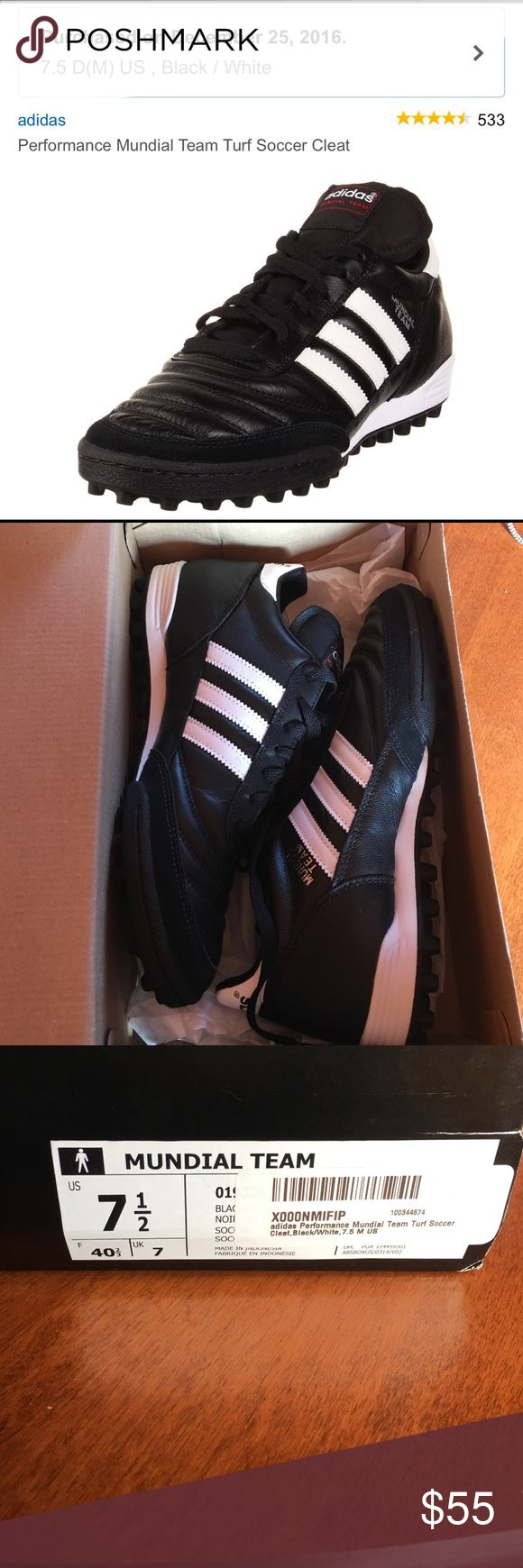 Brand NWT - Adidas Mundial Soccer Cleats - 7.5 men Brand new pair of Adidas Mundial cleats- never worn. Ordered wrong size and return window has closed. Paid $75 on Amazon. New and in original box and packaging. Offers welcome!!! Adidas Shoes Athletic Shoes