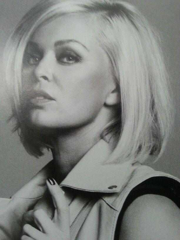 Bobline blonde Bridget Maasland. Dutch tv host. Love the hair!