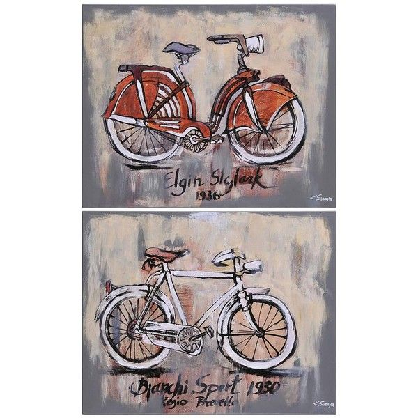 Renwil Ksenia Sizaya 'Vintage Bicycle' Hand-painted Canvas Art ($130) ❤ liked on Polyvore featuring home, home decor, wall art, landscape wall art, vintage home decor, canvas home decor, vintage sports wall art and canvas wall art