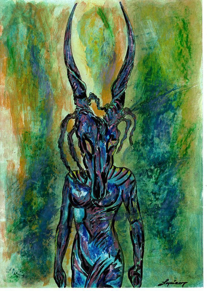 Original Ink Drawing Sketch Romanian Art BLUE DEMON Marian Lupu