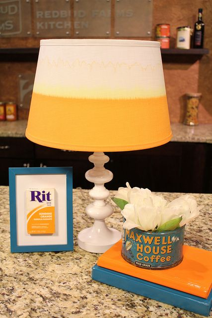 Don't you love this DIY dipped lampshade?  Make an ordinary lamp POP by choosing your own color. Thanks to @Rit Dye for the awesome tutorial!
