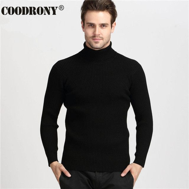 Winter Thick Warm 100% Cashmere Sweater Men Turtleneck Men Brand Mens Sweaters Slim Fit Pullover Men Knitwear Double collar