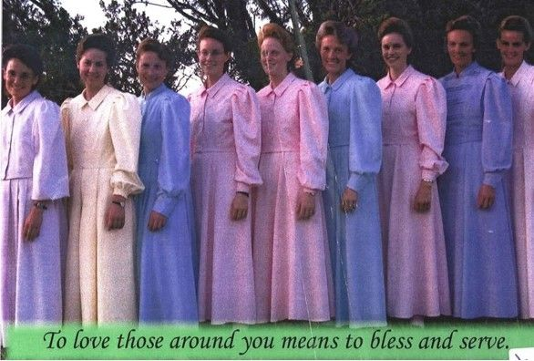 "FLDS: Wives of Raymond Merril Jessop (son of - you guessed it - Merril Jessop!). From left to right, we have: unknown, unknown, Marie Johnson Musser, Maryanne Jeffs (daughter of Annette Barlow and Warren Jeffs), Teresa Jeffs (daughter of Annette and Warren Jeffs), Elizabeth Jeffs (sister of Warren Jeffs; former wife of Ernest Jessop), Lenora Ruth Jeffs (daughter of Annette Barlow and Warren Jeffs); unknown, Janet Jeffs (Warren Jeffs' niece; former ""wife"" of Raymond's brother, Ernest Jessop)."