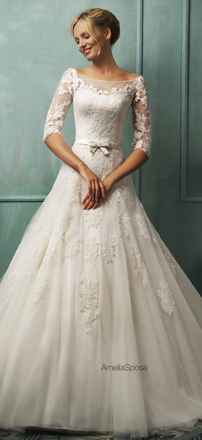 Love the batteau neckline and lace sleeves!! White Ivory Lace Wedding Dress