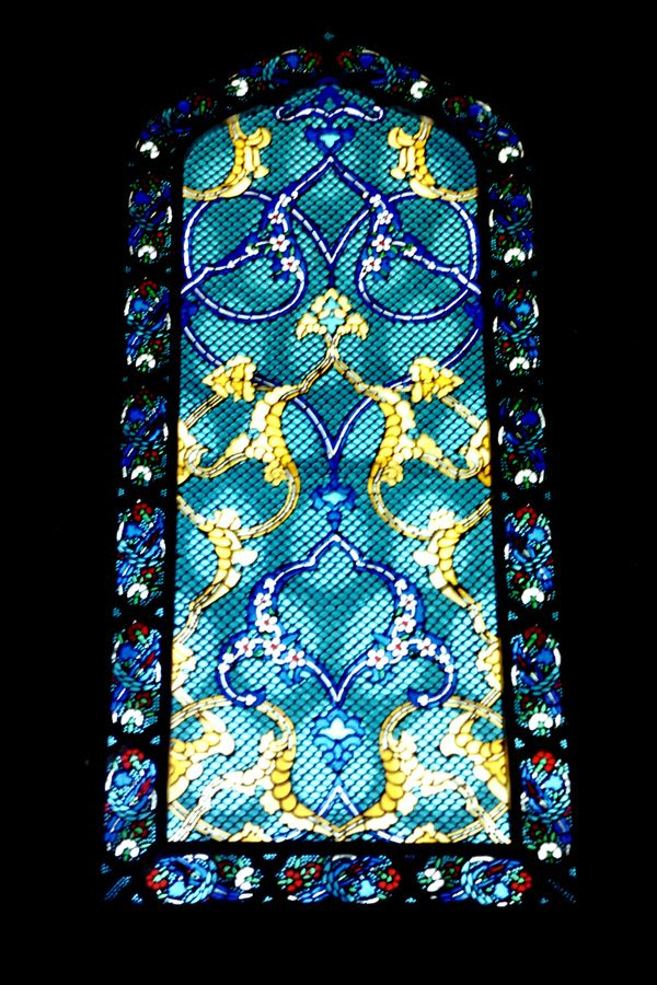 Detail of stained glass in a room in Istanbul's Topkapı Palace (analog cam, 2001)