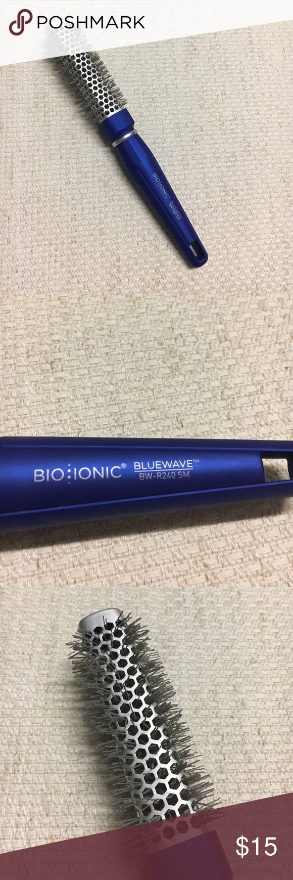 """Blue Wave Bio Ionic Hair Brush Unique dual purpose brush with square-round barrel creates volume faster. The wave-shaped bristles infused with NanoIonic™ Mineral adds condition and shine, eliminating static and fly-always. 1"""" diameter. Small BW-R240. Bio Ionic Accessories Hair Accessories"""