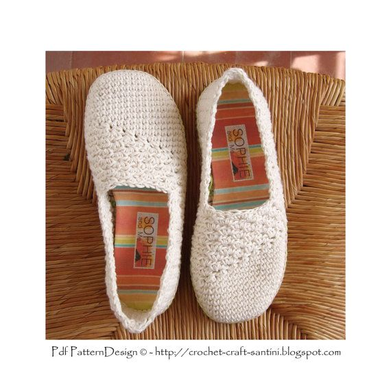 Slanting Line Espadrilles/Toms Basic Crochet Pattern - Istant Download