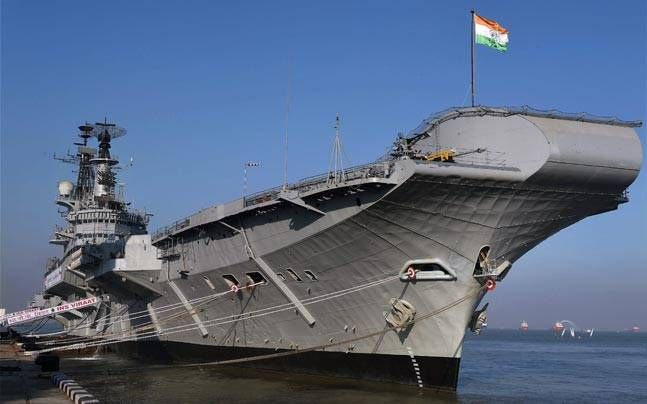 INS Viraat, formally HMS Hermes,  decommissioned in presence of retired British Royal Navy personnel