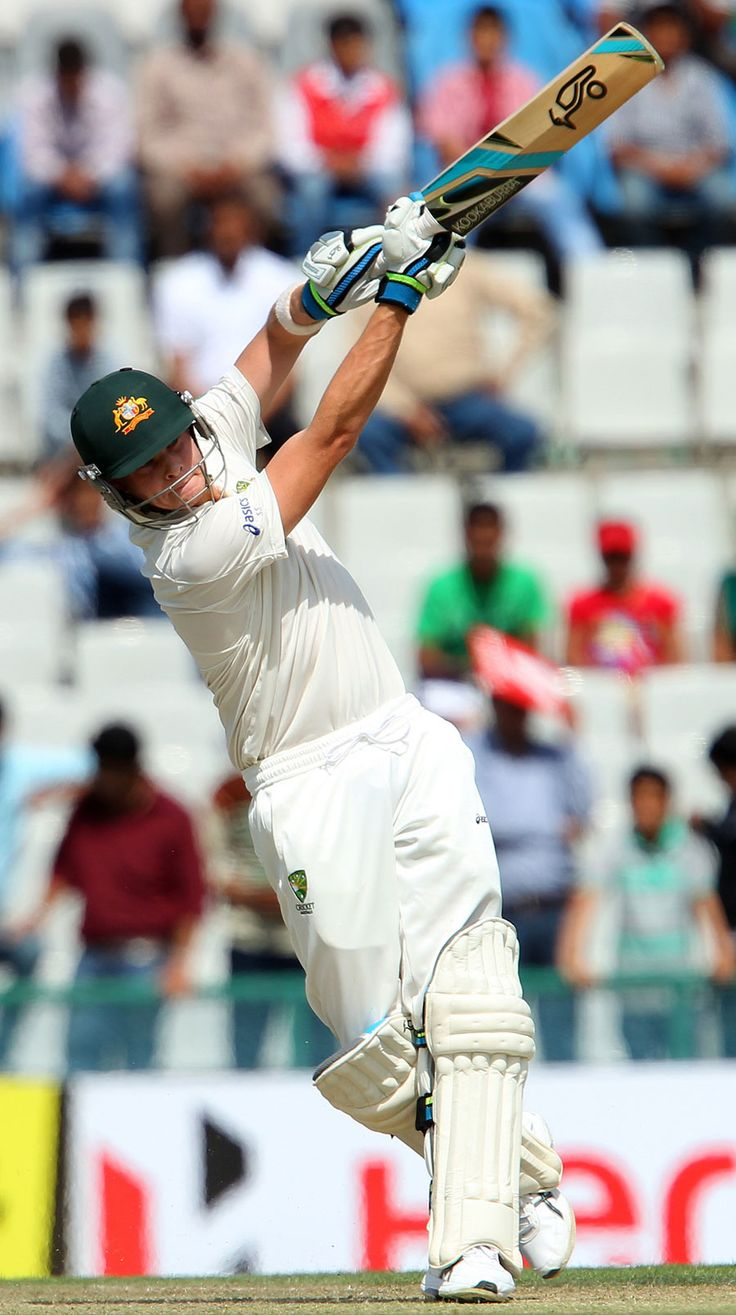 Steven Smith (Aus) 92, lofts to the boundary, vs India, 3rd Test, Mohali, 2nd day, March 15, 2013