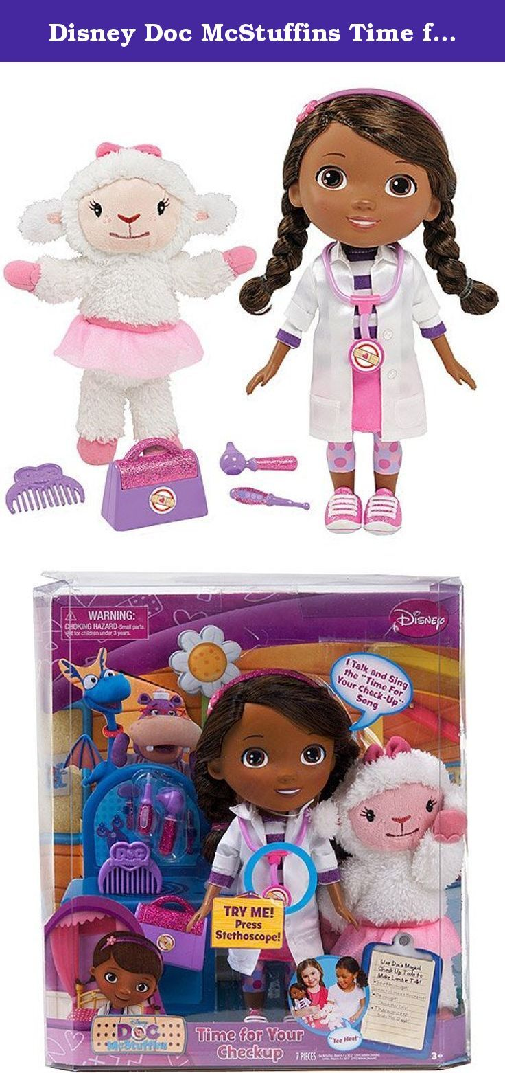 Disney Doc McStuffins Time for Your Checkup Doll. With this Disney Doc McStuffins Time for Your Checkup Doll, your child can use the checkup tools to pretend to be a doctor. This Doc McStuffins Checkup Doll is an African American doll that is also interactive and talks. Featuring a talking Lambie plush in addition to the doll, this Doc McStuffins Talking Doll toy makes checkups fun. This Disney Doc McStuffins Time for Your Checkup Doll includes a doctor's bag, thermometer, otoscope and…