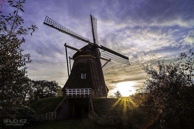 Sun rising behind a Dutch mill