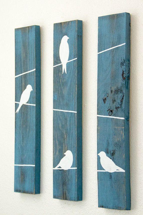 Rustikale Wanddekor Vögel auf Draht 3-teiliges Set di HomeFrosting