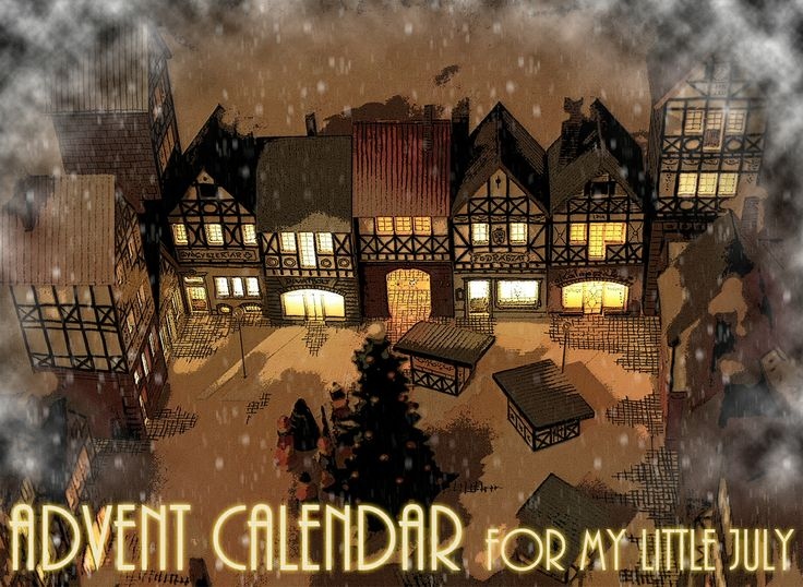 November is here. Advent is coming. These day's i'm often thinking, sipping my coffee in the morning about making an advent calendar for my little July. So i took a pencil and drew 23 little houses surrounding a tiny square with pavillons and a christmas tree.  When time has come, the little gifts will be hidden in the houses.  One for each day until christmas. Every new day a new light shall go on house by house....  This was the basic idea....