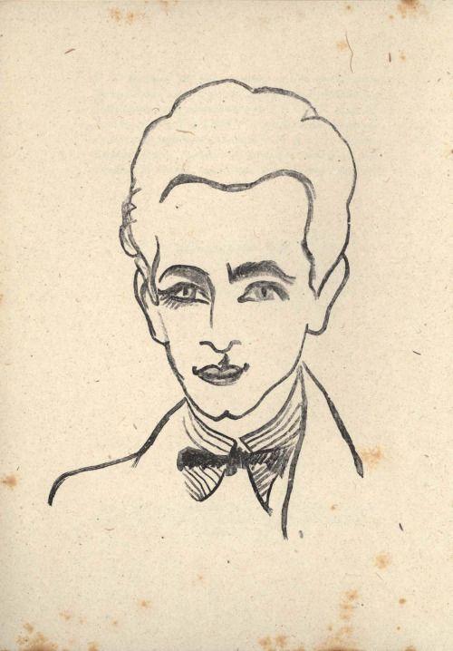 Louis Aragon by Robert Delaunay, in Louis Aragon, Les Aventures de Télémaque, Paris: Editions de la Nouvelle Revue Française,1922,