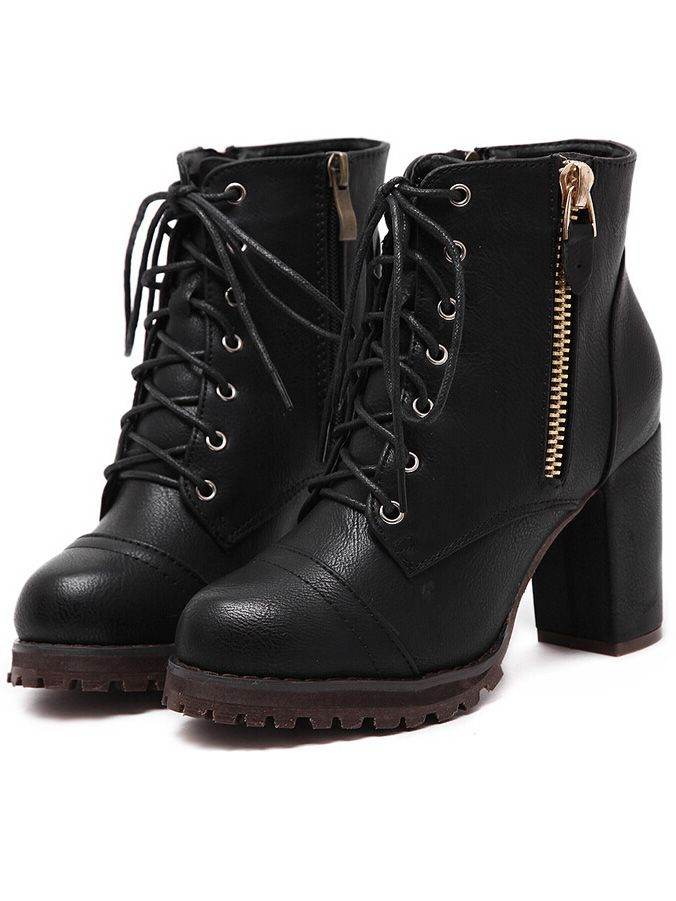 WANT WANT WANT Black Lace Up Zipper Chunky Boots