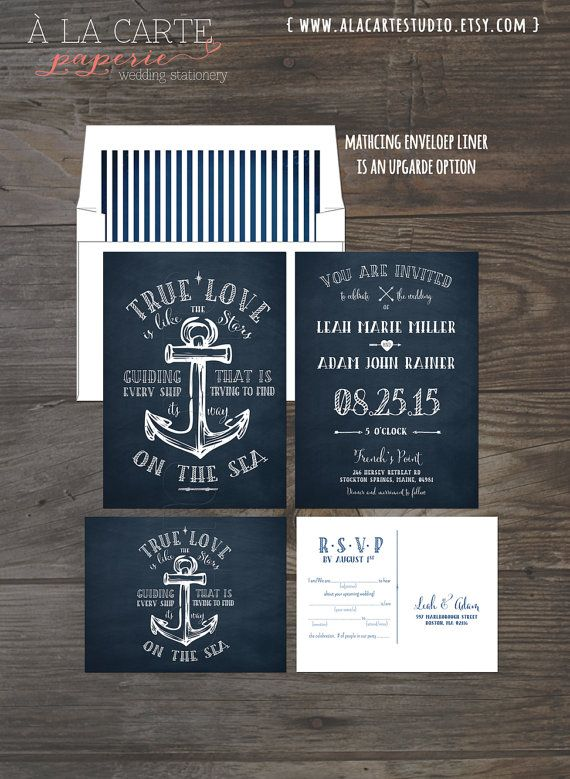 True Love Nautical Anchor Wedding Invitation von alacartepaperie