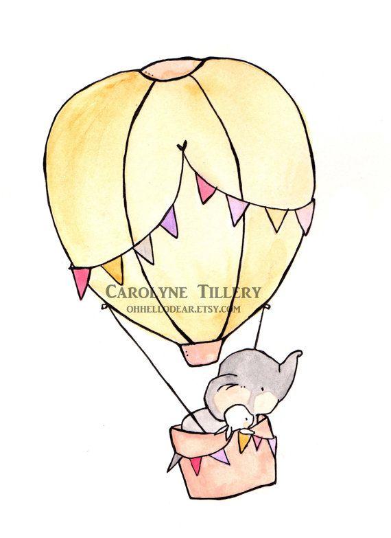 Fly Away Pink 8x10  Nursery Art, child wall art, boy nursery, girl nursery,bunny rabbit, elephant