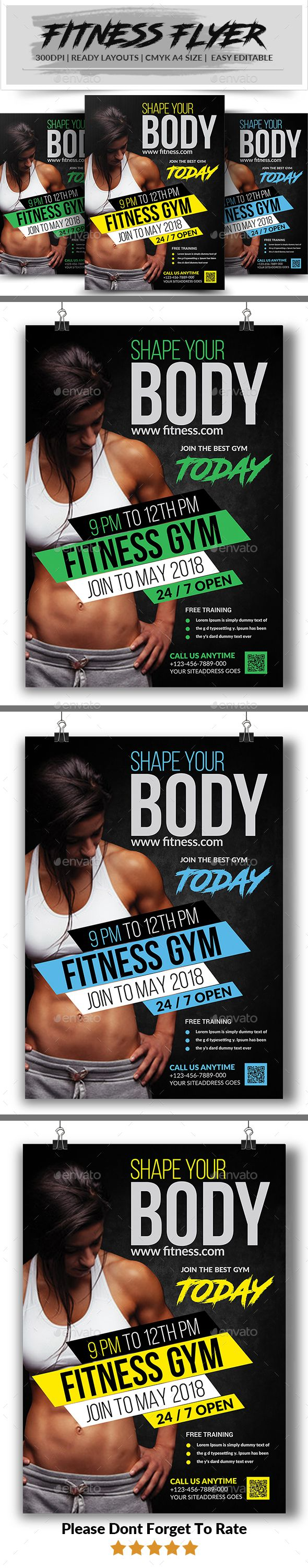 Fitness Flyer template  is a professional, clean, & creative Fitness Flyer template designed to make a good impression.  ................................................  Features :  - Editable in adobe photoshop  - Professional design  - Uses free fonts  - Al