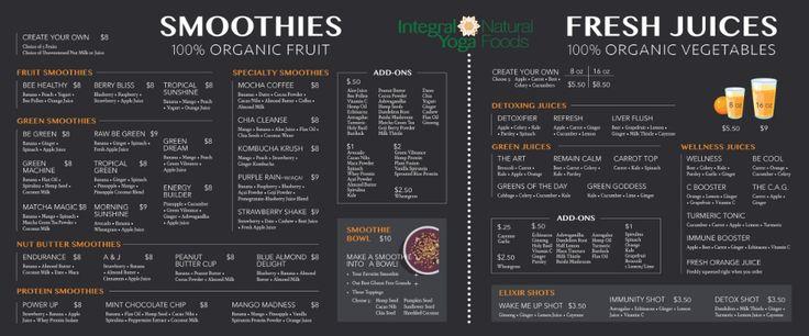 Juice menu integral yoga natural foods juice menu