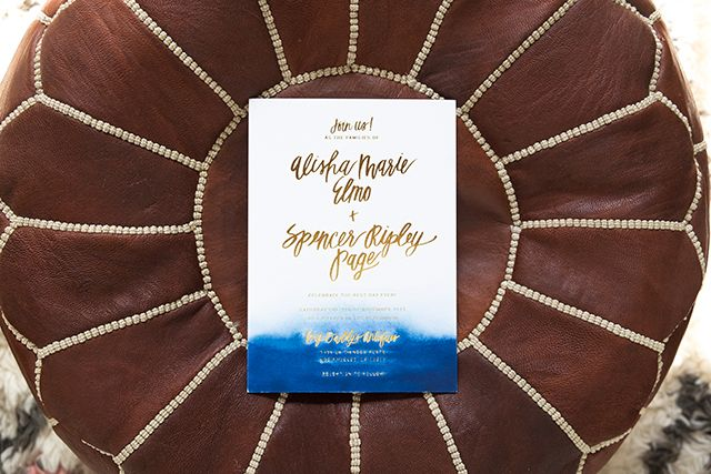 Indigo Watercolor and Gold Foil Wedding Invitations by Goodheart Design / Oh So Beautiful Paper