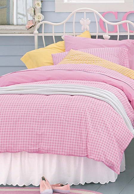 Pink Reversible Gingham Bedding Collection Girls