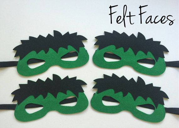 SET OF 4 Incredible Hulk Party Masks, Hulk Party Favors, Hulk Costume, Hulk Birthday, Superhero Party, Incredible Hulk Party Decorations