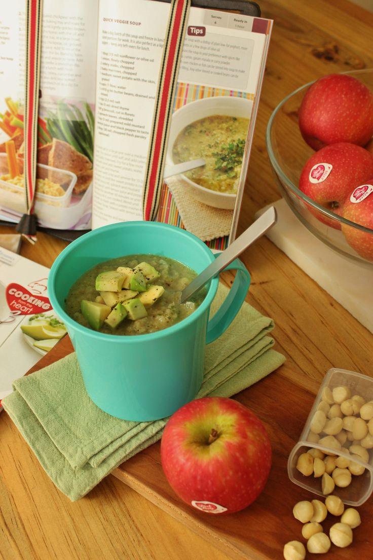 Creamy avo is a perfect topping for a veggie soup - and a healthy lunch too.