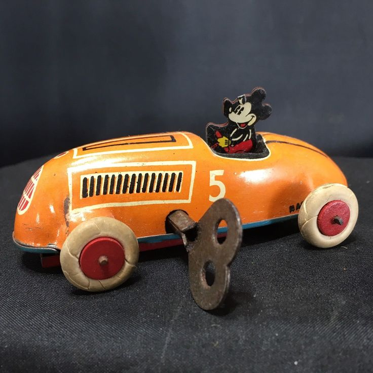 Vintage Wind Up Marx Tin Toy MICKEY MOUSE RACE CAR Marx Working Complete 1936