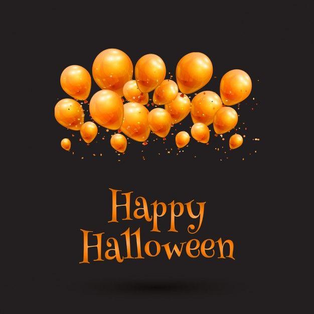 Happy halloween background with orange balloons Free Vector