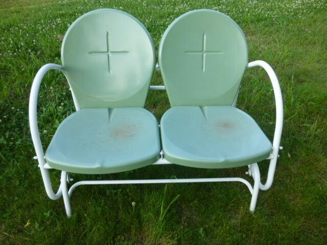 New Retro Two Seater Double Glider From Lowes A Few Years Ago Remake Of The 1960 S Gliders Like Vintage My Metal Porch Lawn