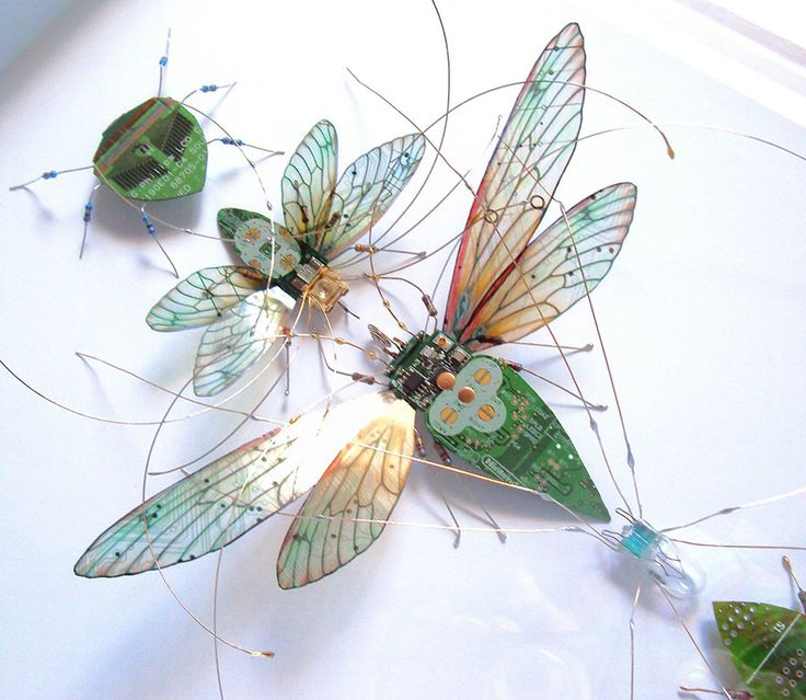 Winged Insects Made From Old Computer Circuit Boards and Electronics, by Julie Alice Chappell, via BoredPanda
