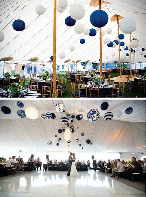 Une belle alliance de bleu et de blanc pour la décoration de votre salle de réception de #mariage.