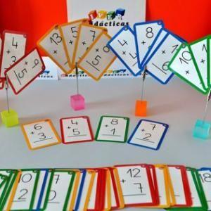 """""""Pescar sumas"""". Baraja para que niños de 6 a 8 años trabajen la descomposición aditiva de los 20 primeros números. ¿Tienes alguna suma que de 8?"""
