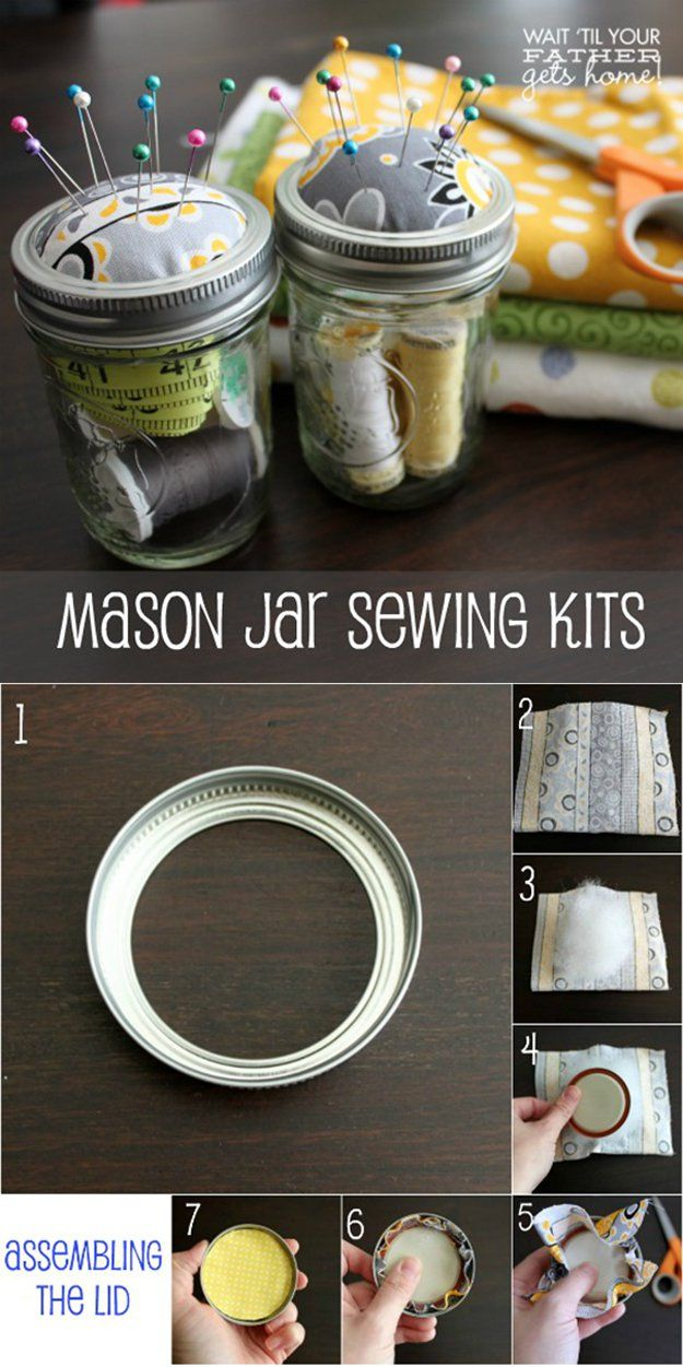 diy mason jar sewing kits - great gift idea for crafters and sewers! | | 26 DIY Mason Jar Crafts You Can Make In Under an Hour at http://DIY Projects/com/mason-jar-crafts-in-under-an-hour